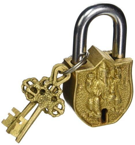 Ganesh Design Decorative Lock Showpiece - 9 cm (Brass, Gold)