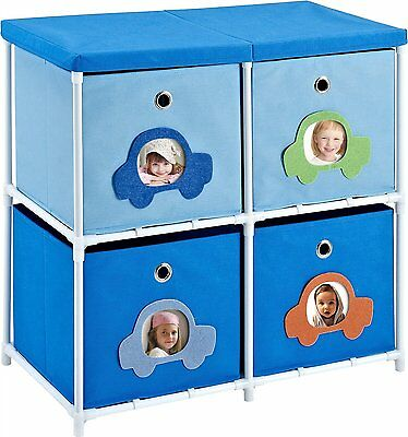 Blue Storage Kids Toy Box Playroom Furniture Bedroom Girls Organizer 4 Bin