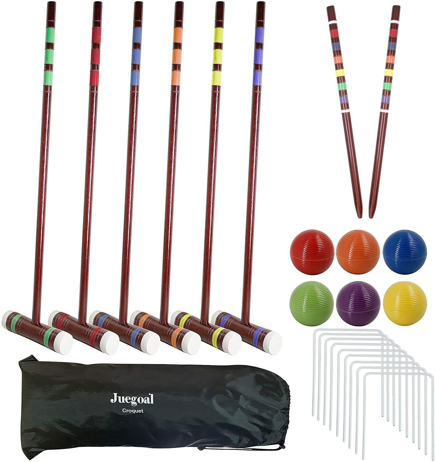 Juegoal Six Player Deluxe Croquet Set Wooden Mallets Colored