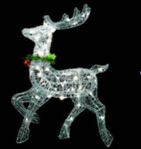 25 In Lighted Silver Prancing Reindeer Christmas Outdoor Decoration Navidad