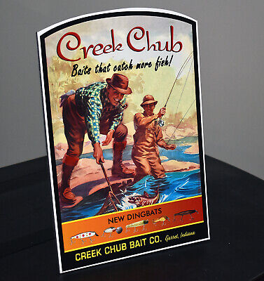Creek Chub Bait Co Garret Indiana Stand-up Advertising Sign 2