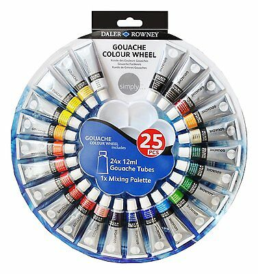 Daler Rowney Simply Gouache Wheel Set 24 x 12ml Tubes & Mixing Palette