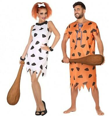 Couples Ladies AND Mens 60s Caveman Cave Girl Woman Fancy Dress Costumes Outfits