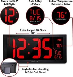 AcuRite - 18 Large Numbers LED Light Digital Wall Clock with Indoor Temperature