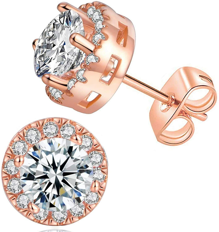 ELEGANT Earrings for Women 18k Rose Gold Plated Beautiful CZ Stud Earrings