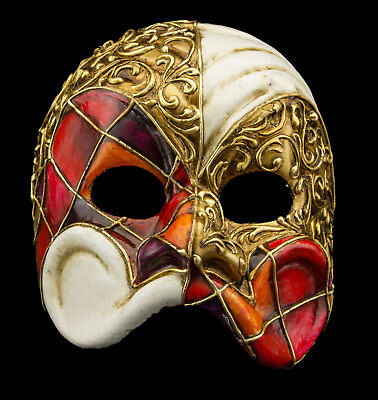 Mask from Venice Harlequin Red Orange Paper Male for Homme-Haut Range 22355