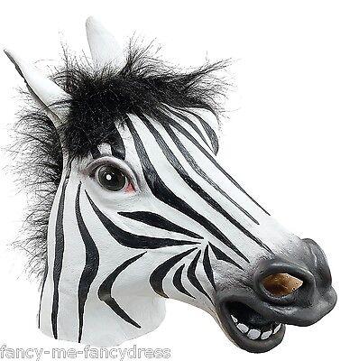 Herren Damen Zebramuster Gummi Gesichtsmaske Tier Halloween Kostüm Kleid Outfit ()