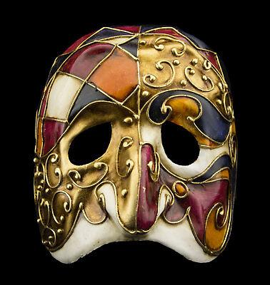 Mask from Venice Polichinelle Fushia Golden Paper Mache Man Top Range 22354