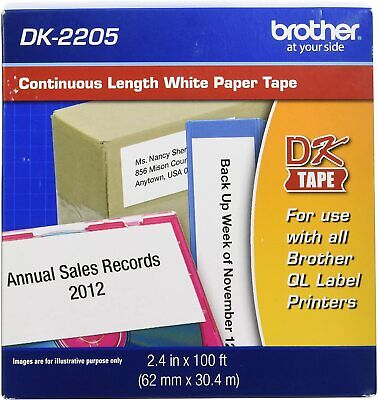 Brother Genuine Dk-2205 Continuous Paper Label Roll Cut-to-length Label 2.4x100