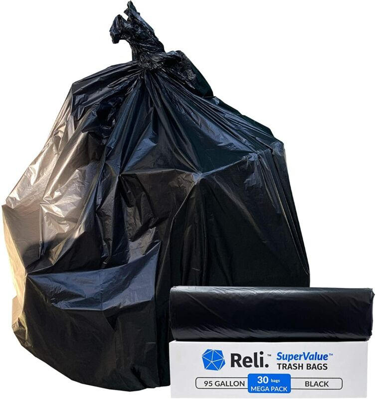 Reli. 95 Gallon Trash Bags Heavy Duty | 30 Count | Made in USA |