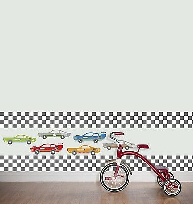 RACE Car CHECKERED FLAG Wall STRIPE Decals Border Wallpaper Room Decor Sticker