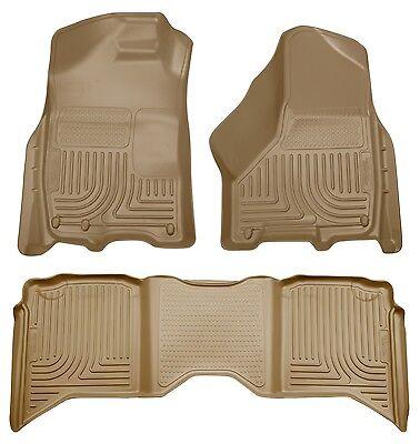 2011-2013 Ram 1500 2500 Husky WeatherBeater Front & 2nd Row Tan Floor Liners