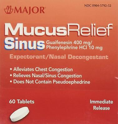 Major Mucus Relief Sinus Guafenesin/PE Nasal Decongestant (Box of 60)