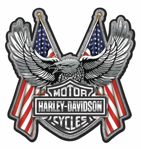 HARLEY DAVIDSON UPWING EAGLE DECAL MADE IN USA FLAGS BAR & SHIELD CHROME FINISH
