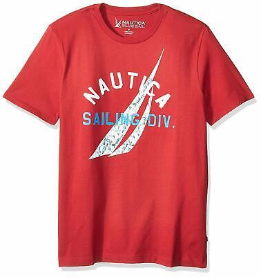 $100 Nautica Men's Red Logo Graphic Print T-Shirt Crew-Neck Short-Sleeve Size XL