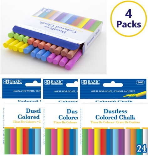 4 Pack - Assorted Dustless Chalk Non-toxic Drawing Home School Office