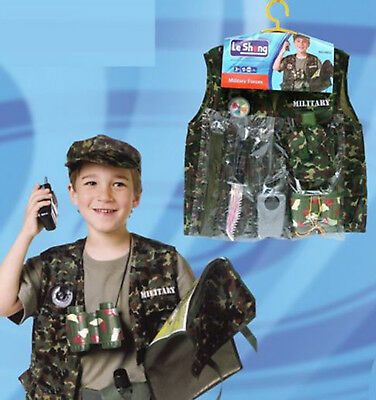 Soldier For Kids (7 Pc Soldier Costume for kids with Toy Role Play Kit Dress Up Outfit ~ US)