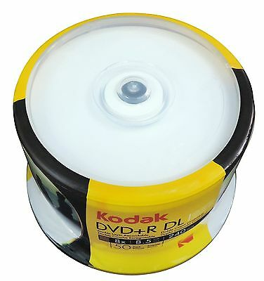 50 KODAK 8X Blank DVD+R DL Dual Double Layer White Inkjet Printable 8.5 GB Disc