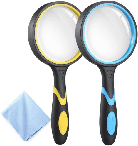 2 Pack Magnifying Glass, 4X Handheld Reading Magnifier for Kids and Seniors
