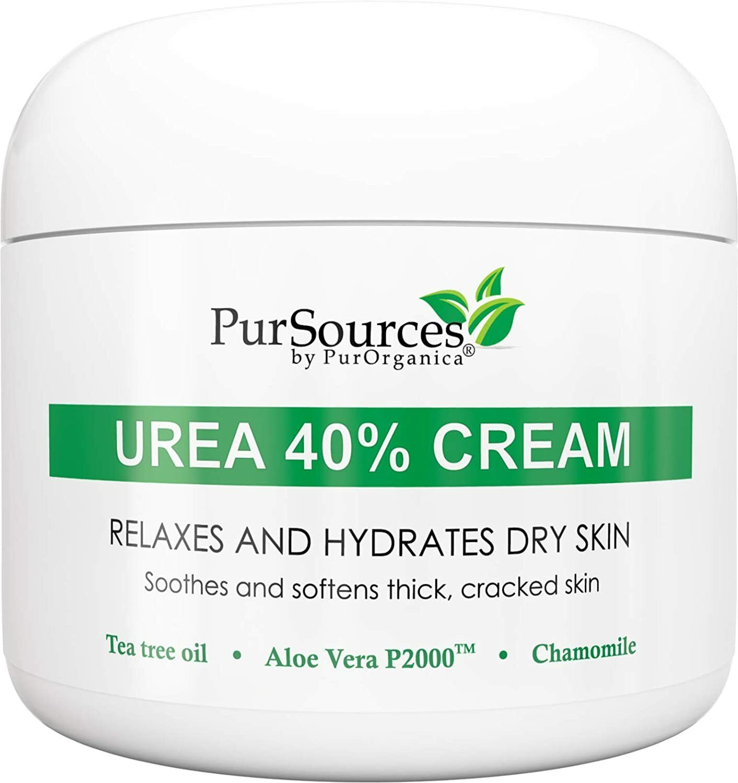 PurSources Urea 40% Healing Cream 4 oz + Free Pumice Stone -