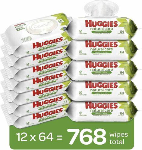 Huggies Natural Care Sensitive Baby Wipes, Unscented 12 Flip-Top Packs - 768ct