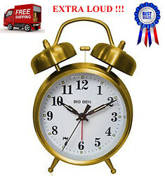 Vintage Twin Bell Alarm Clock Loud Wake Ring Backlight Analog Quartz Old Fashion