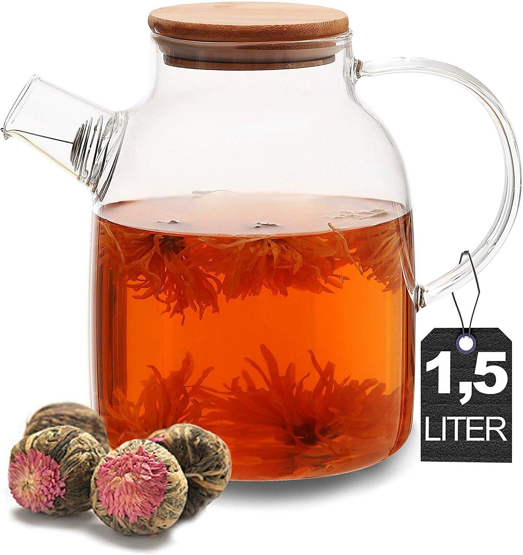 Teekanne mit Bambusdeckel 1,5L Edelstahl Filter Tee Bereiter Kanne Krug Getränke