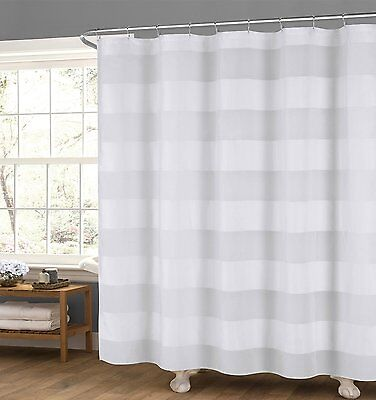Semi Sheer White Fabric Shower Curtain: Wide Stripe Design