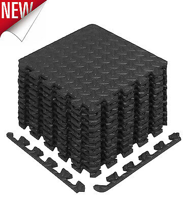 Floor Mat Protector Interlocking Puzzle Rubber Foam Gym Fitness Exercise Tiles