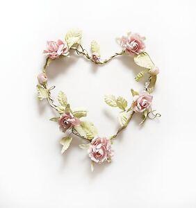 ROSE GARLAND PINK HEART WREATH WEDDING DECORATION CHIC & SHABBY FLOWERS