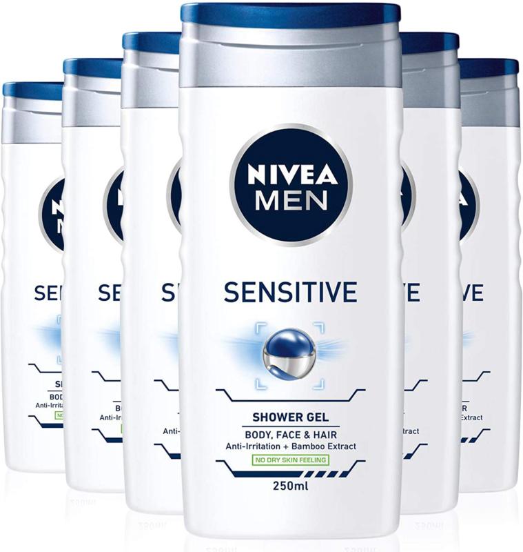 NIVEA MEN Sensitive Shower Gel Pack of 6 (250ml) FREE NextDay Delivery