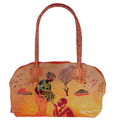 Real Leather Tote Human Design Indian Shantiniketan Ethnic Shopping Bag Handmade