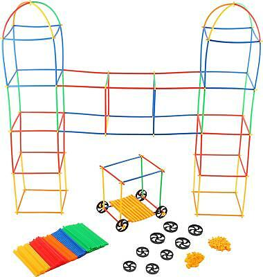 Straw Connectors (4D Straw Building Set 400PCS Straws, Connector & Wheels Kids Construction)