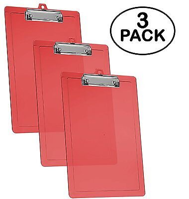 Acrimet Clipboard Letter Size Low Profile Clip Clear Red Color 3 - Pack