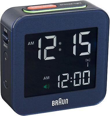 Braun BNC008BL-RC Navy Blue Digital Quartz Radio Controlled Travel Alarm Clock