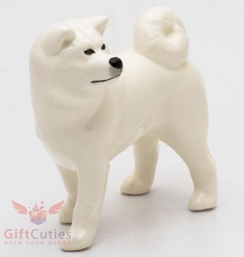 Porcelain Figurine of the White Akita dog