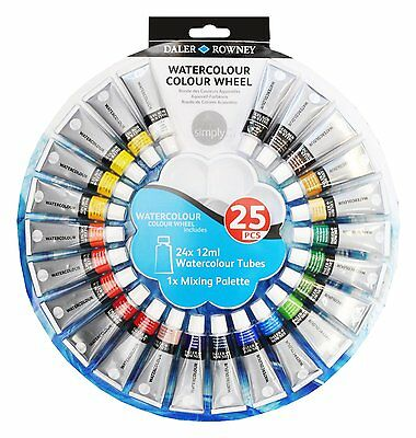 Daler Rowney Simply Watercolour Wheel Set 24 x 12ml Tubes & Mixing Palette