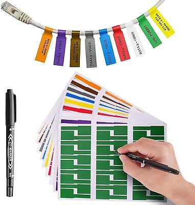 7 Colors 210 Pack Cable Labels Self-adhesive Stickers Waterproof Wire Labels