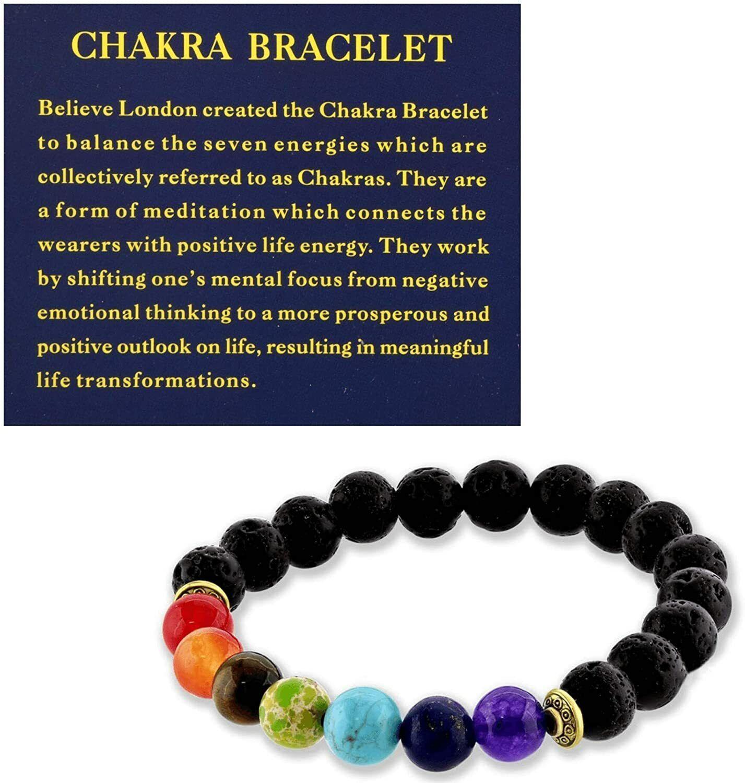Gemstone Healing Chakra Bracelet Anxiety Natural Stone Men Women Reiki Diffuser