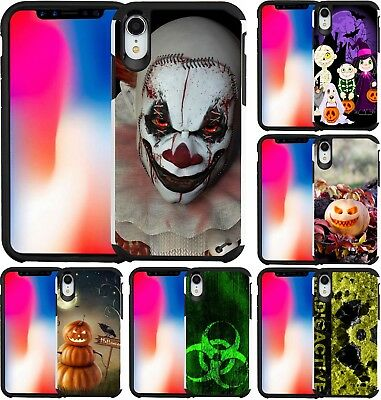 For iPhone XS Max XR X Slim Hybrid Case Phone Cover Scary Clown Halloween 2018
