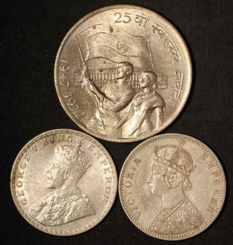 Lot of 1972 India 10 Rupees, 1890 & 1918 India One Rupee - Free Shipping USA