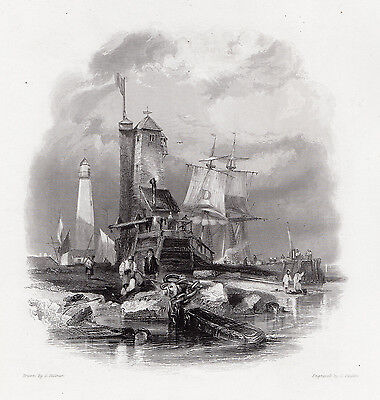 """George BALMER 1800s Engraving """"Old South Pier and Lighthouse"""" Signed FRAMED COA"""
