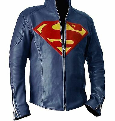 Best Priced Halloween Costumes (Blue Superman Famous halloween costume Smallville Faux Leather Jacket Best)