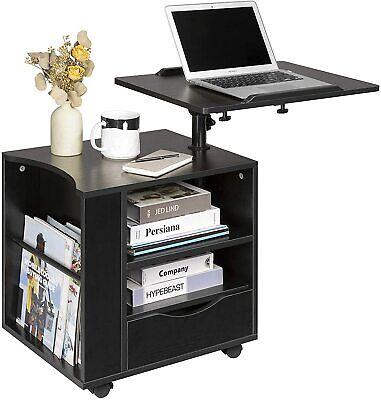 Functional Computer Laptop Table Desk Mobili Cart Drawer Storage Modern New