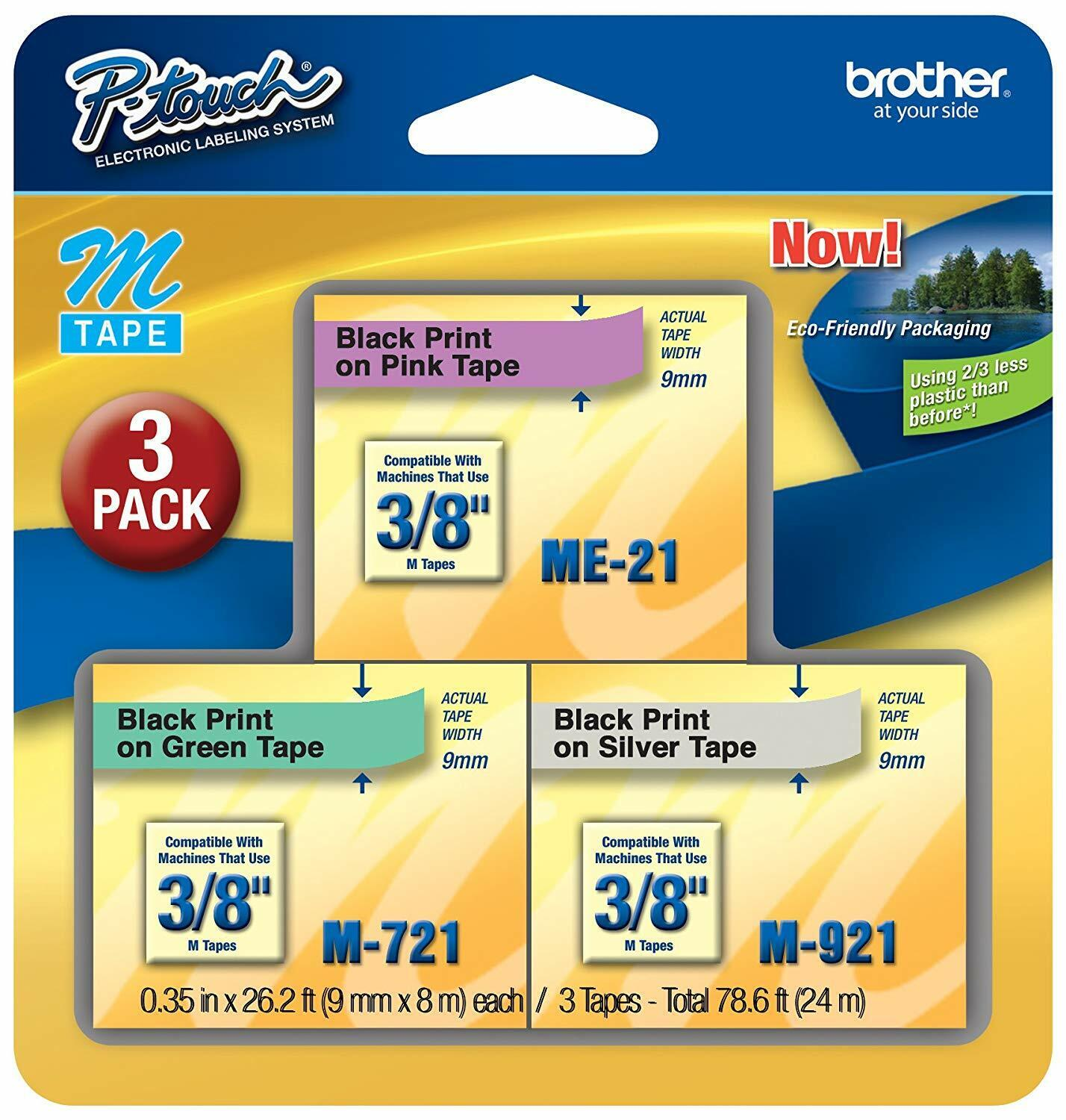 Brother ME793 P-Touch M Tape 3/Pack, Black on Pink, Green and Silver, Brand New Business & Industrial