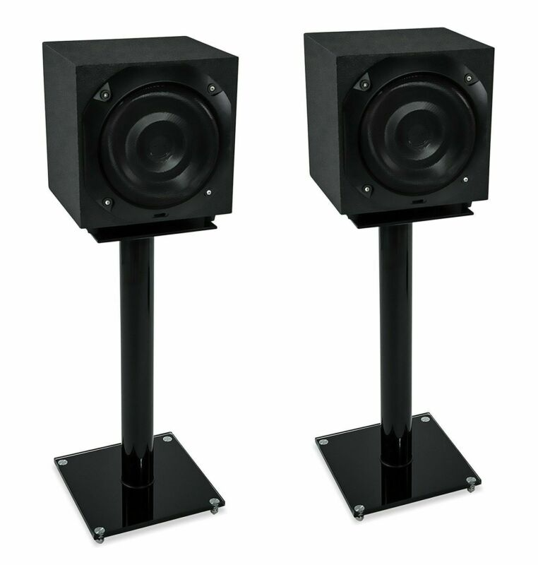 Mount-It! Floor Speaker Satellite Speakers System Stands Glass & Aluminum Black