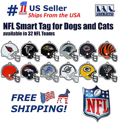 NFL Smart TRACKING ID Tag - Best Lost Dog Retrieval System with Engrave NFL