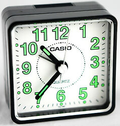 Casio TQ140-1B Travel Desk Quartz Alarm Clock Neobrite Resin Case w Battery New