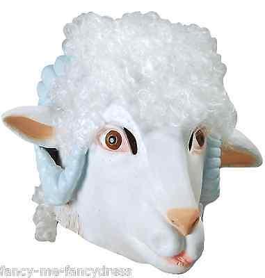Man Sheep Halloween Costume (Mens Ladies Ram Sheep Rubber Mask Animal Halloween Fancy Dress Costume)
