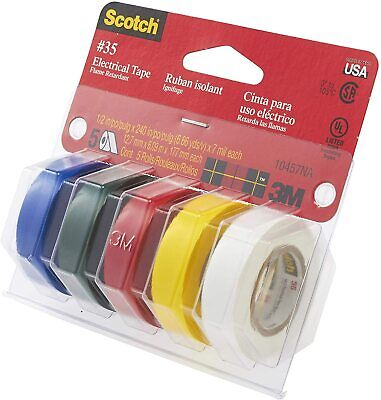 3m Scotch 35 Electrical Tape Multi-color Value Pack 10457na 5 Rolls